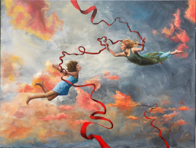 flying people red ribbon colorful clouds